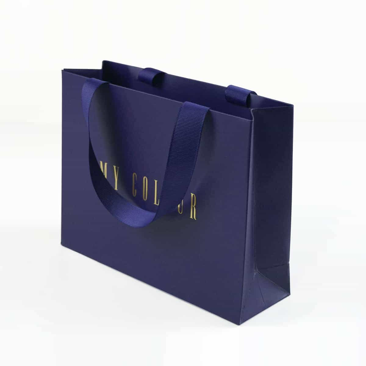 High level wide ribbon handle bag