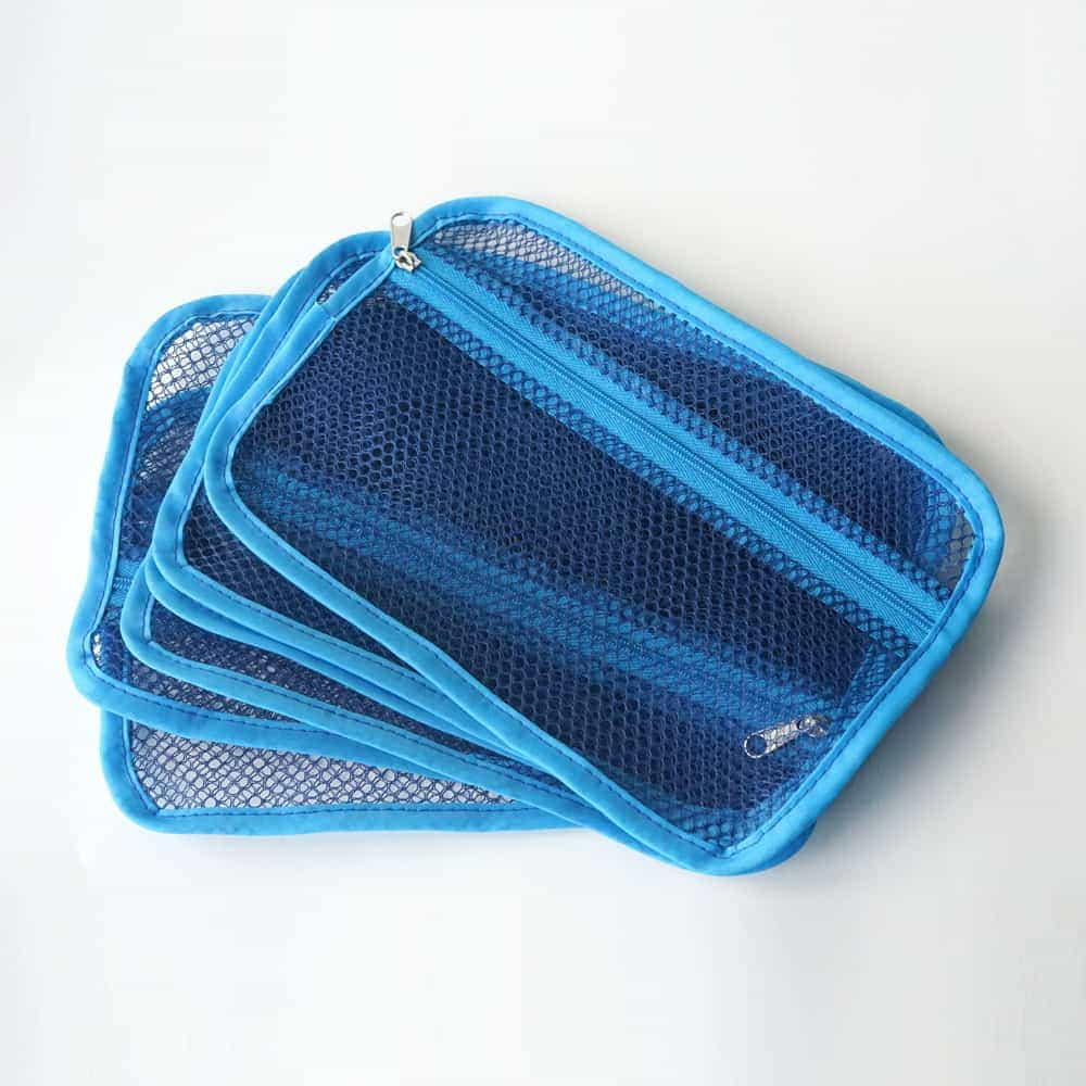 Small portable mesh zipper bag