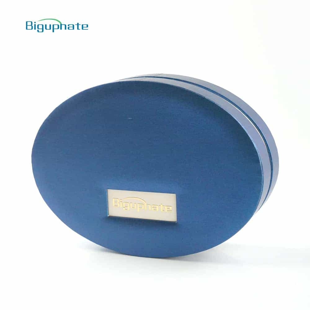 Pearl paper round box with nameplate