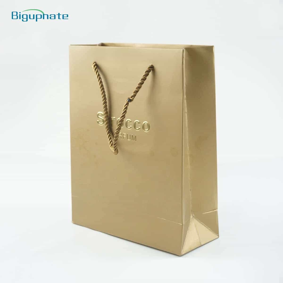 Embossing gold cardboard bag